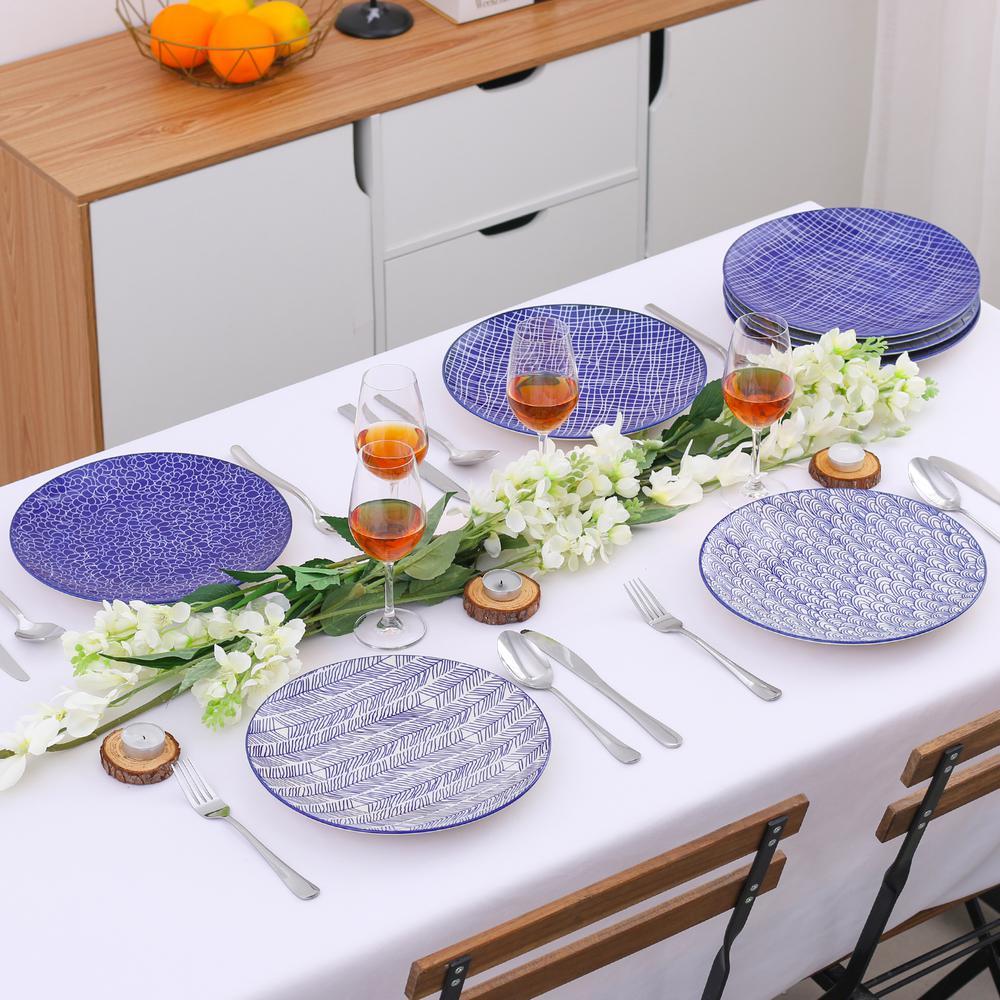 10.5 in. Blue Patterned Porcelain Dinner Plates Set for Pasta Salad Dessert (Set of 4)