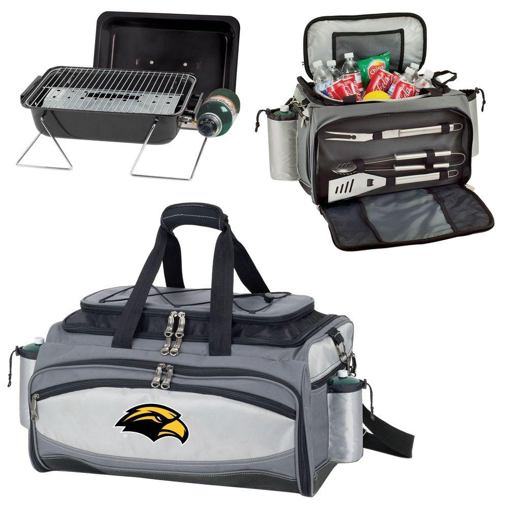 Picnic Time Southern Miss Golden Eagles - Vulcan Portable Propane Grill and Cooler Tote with Digital Logo, Black/Gray