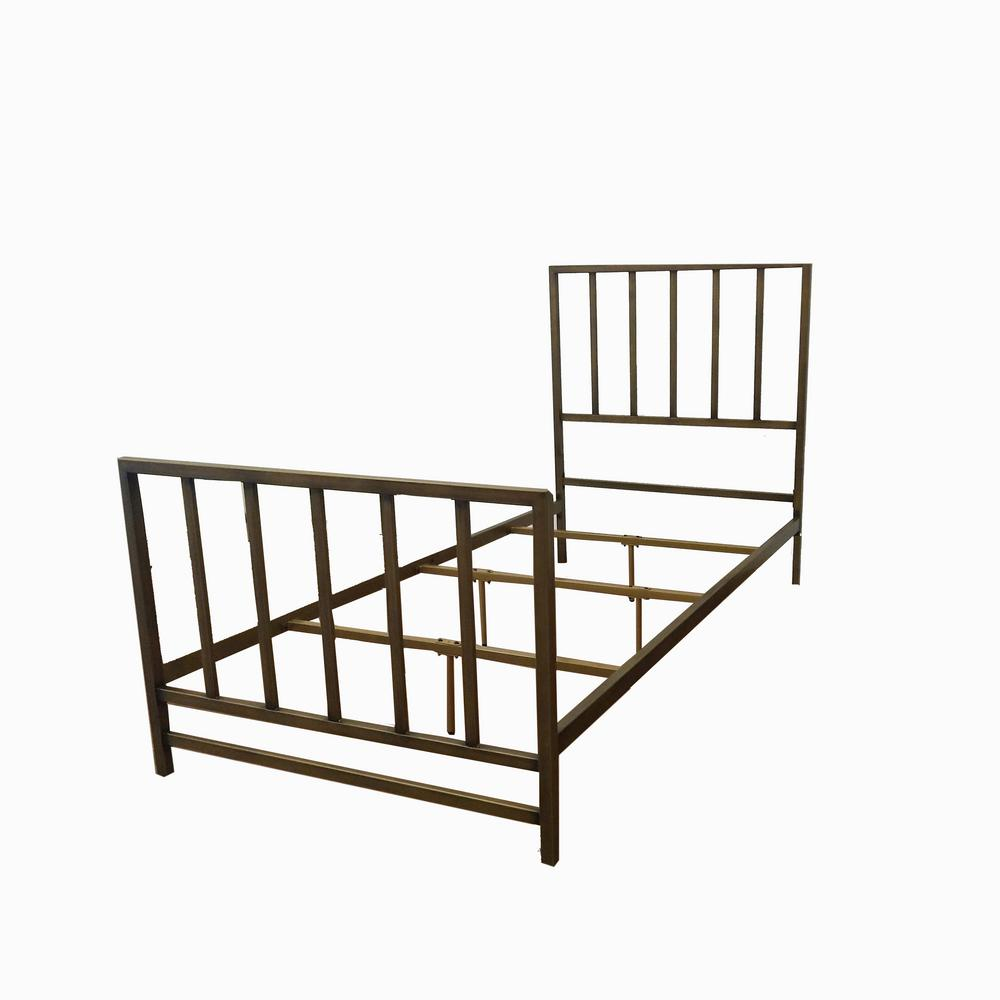 Brushed Gold Metal Twin Standard Bed