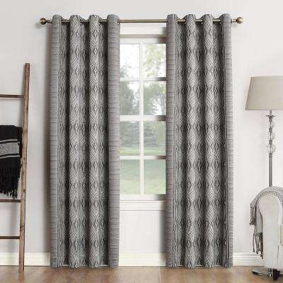 Tahoe Woven Home Theater Grade Blackout Coal Grommet Single Curtain Panel - 52 in. W x 95 in. L