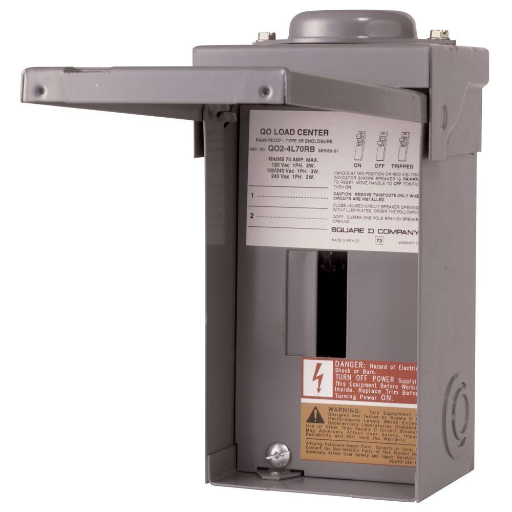 Square D QO 70 Amp 2-Space 4-Circuit Outdoor Main Lug Load Center
