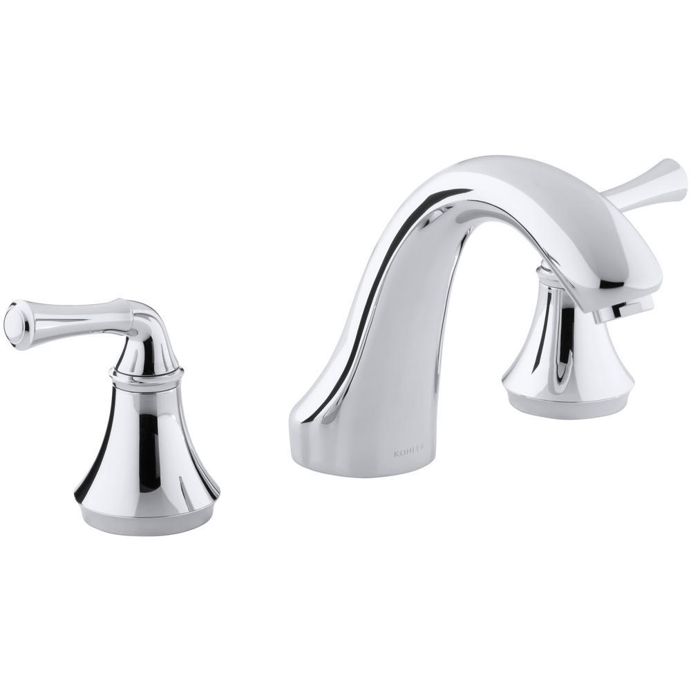 KOHLER Forte 8 in. 2-Handle Bath-Mount/Deck-Mount Bathroom Faucet Trim Kit in Polished Chrome (Valve Not Included)