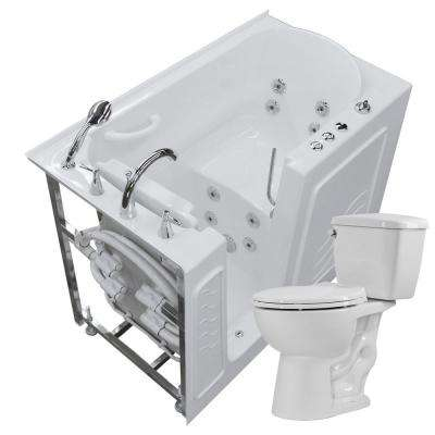 Nova Heated 52.8 in. Walk-In Whirlpool Bathtub in White with 1.28 GPF Single Flush Toilet