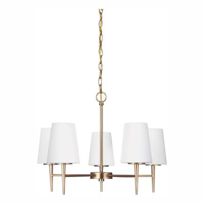 Driscoll 5-Light Satin Brass Chandelier with LED Bulbs