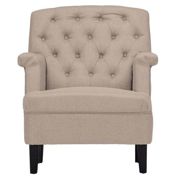 Baxton Studio Jester Contemporary Beige Fabric Upholstered Accent Chair