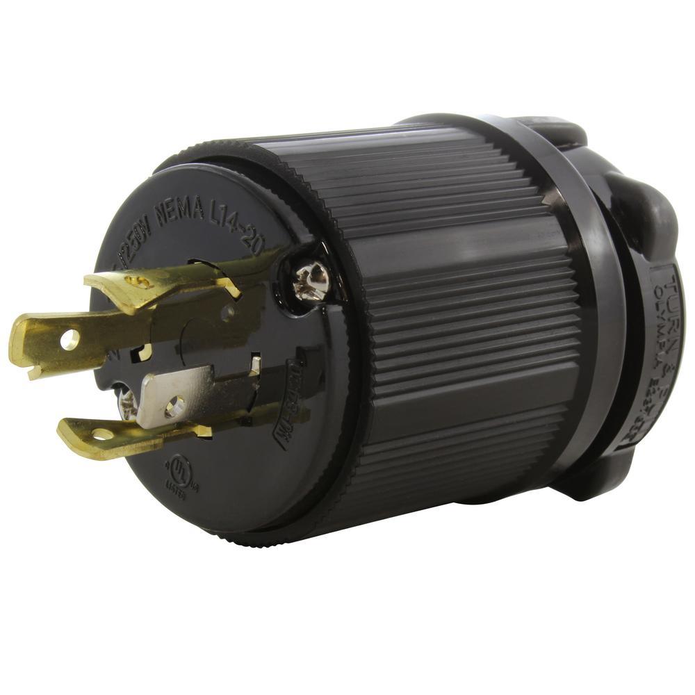 NEMA 20 Amp 125/250-Volt 4-Prong Locking Male Plug With UL C-UL Approval