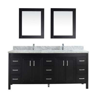 Dawlish 75 in. W x 22 in. D Vanity in Espresso with Marble Vanity Top in Gray with White Basin and Mirror