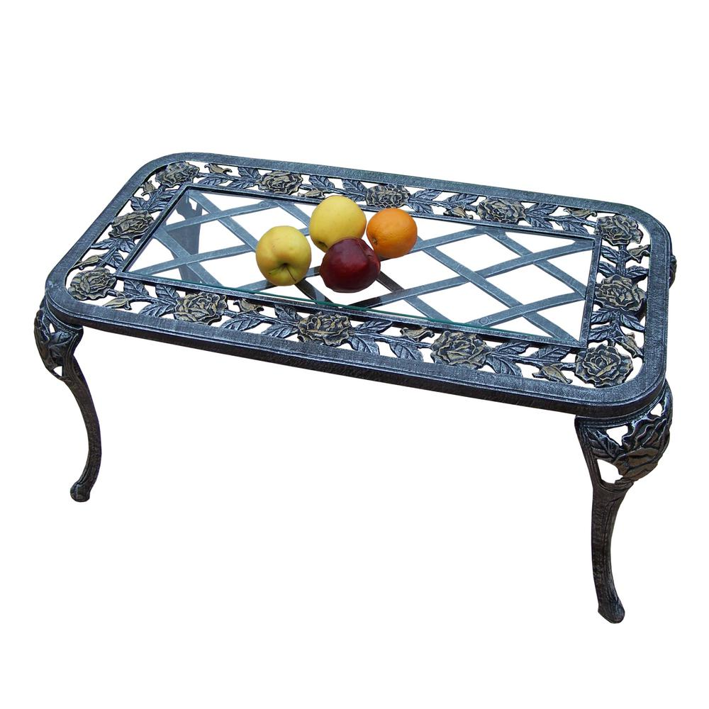 Aluminum Patio Coffee Table: Tea Rose Antique Pewter Aluminum Outdoor Coffee Table