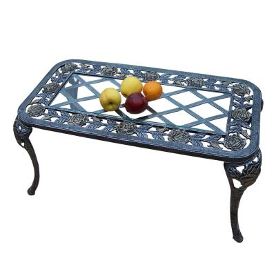 Tea Rose Antique Pewter Aluminum Outdoor Coffee Table