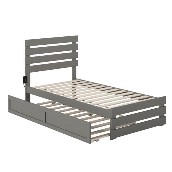 Oxford Grey Twin Bed with Footboard and USB Turbo Charger with Twin Trundle