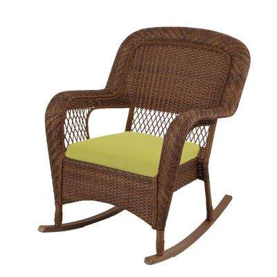 Charlottetown Brown All-Weather Wicker Patio Rocking Chair with Green Bean Cushion