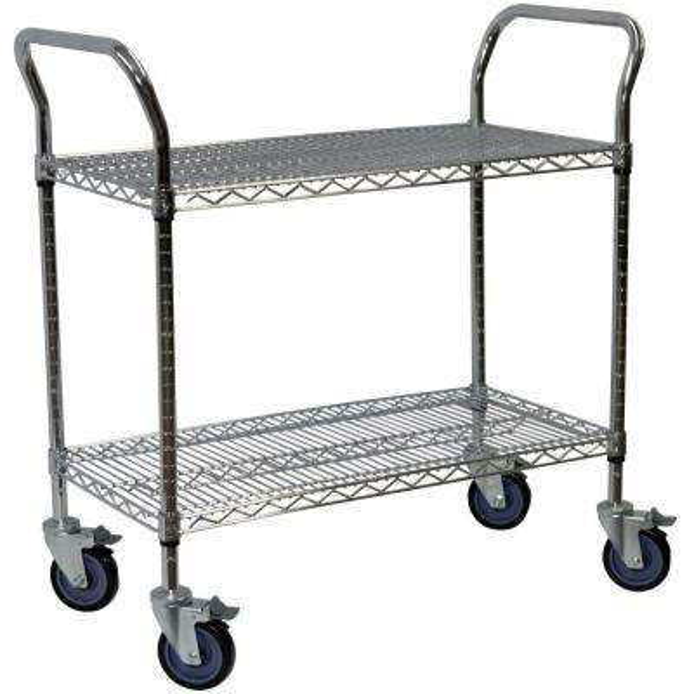 2-Shelf Steel Wire Service Cart in Chrome