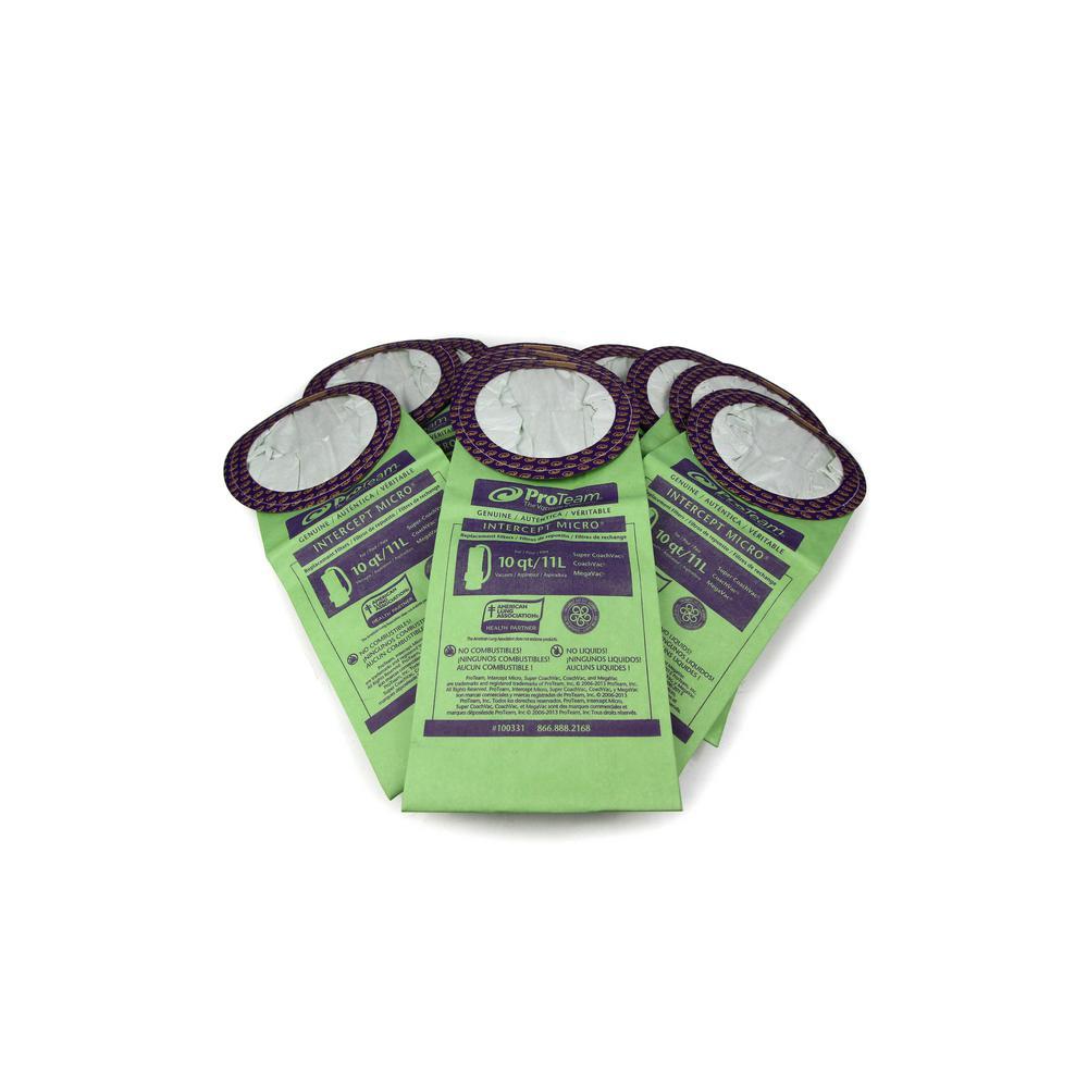 ProTeam 10 Qt. of Genuine Round Bags Fits SuperCoach Vac/CoachVac/MegaVac (10-Pack)