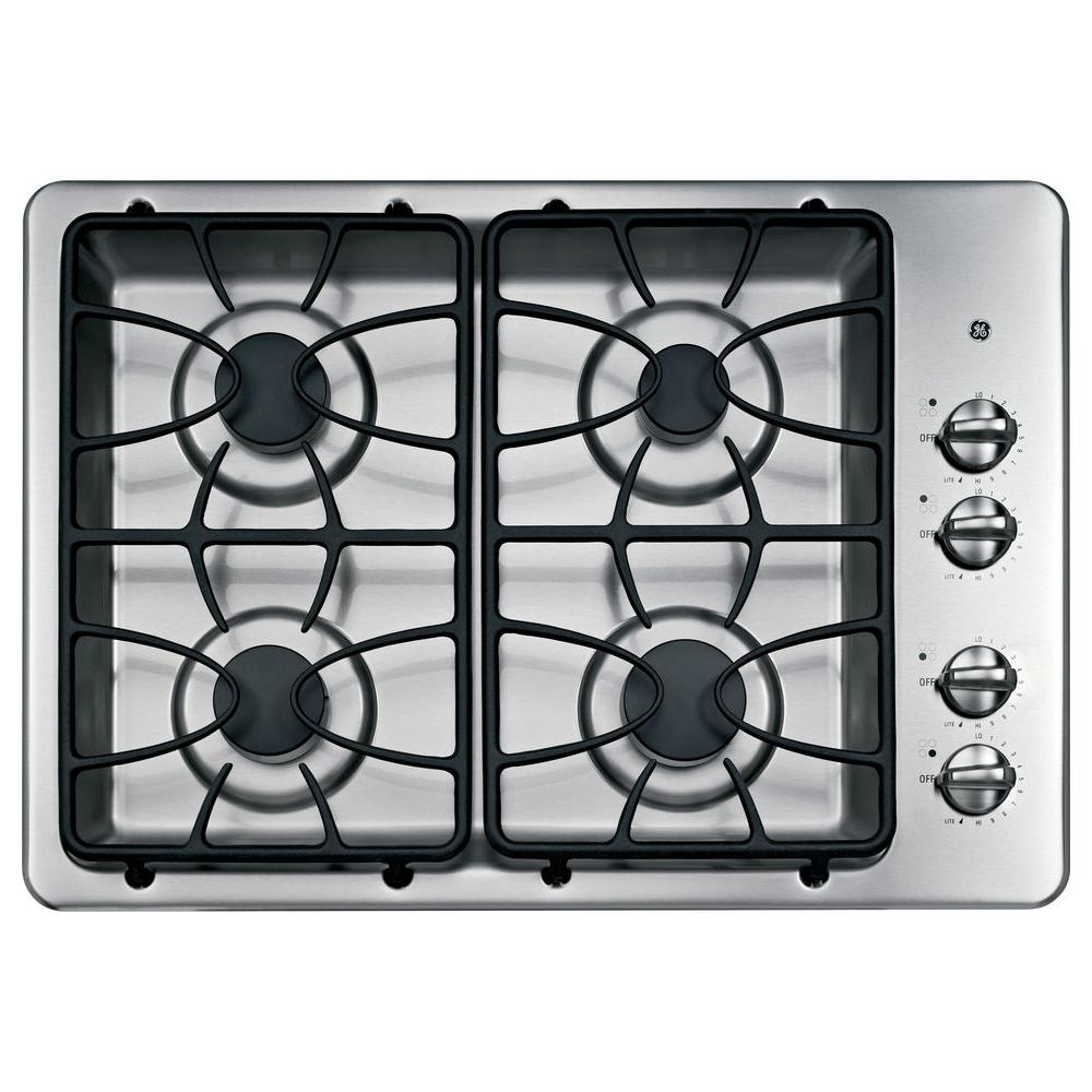 GE 30 in. Gas Cooktop in Stainless Steel with 4 Burners