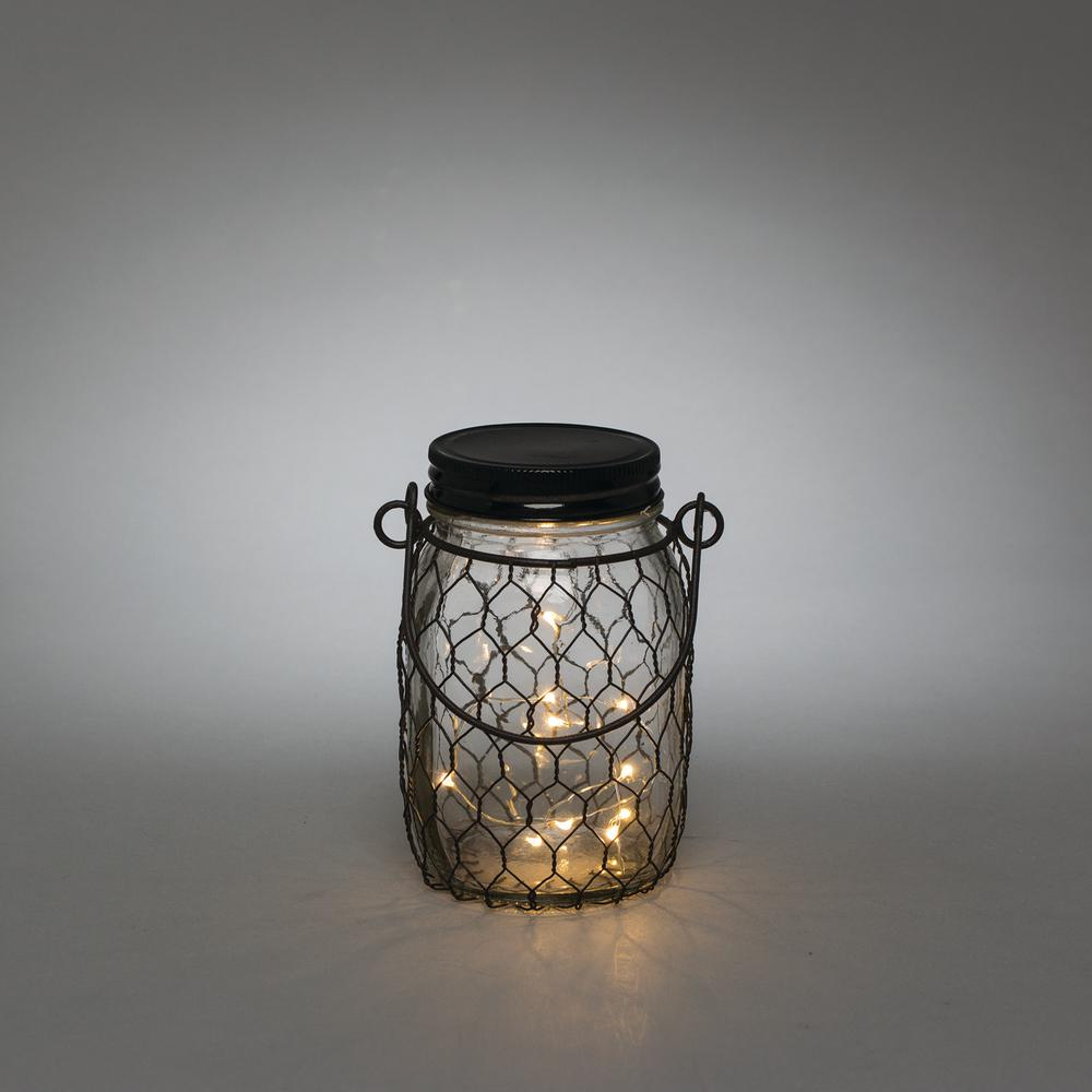 3.5 in. x 5.5 in. Black Wire LED Lighted Mason Jar, Blacks
