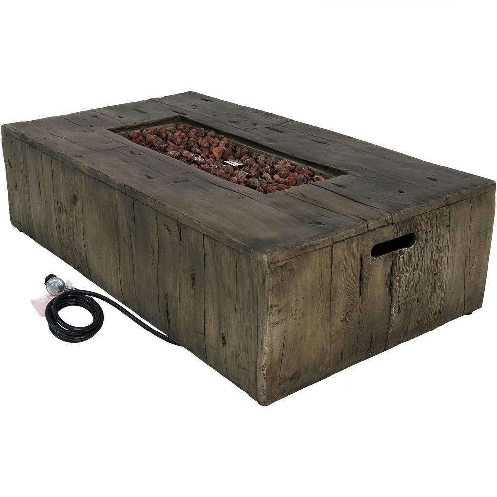 Sunnydaze Decor 26.5 in. W x 13 in. H Rectangle Rustic Fiberglass/Concrete Propane Gas Fire Pit Table with Lava Rocks