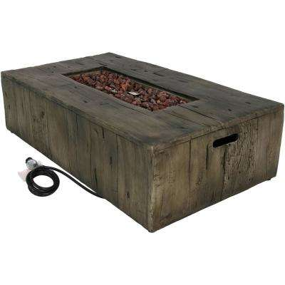 26.5 in. W x 13 in. H Rectangle Rustic Fiberglass/Concrete Propane Gas Fire Pit Table with Lava Rocks