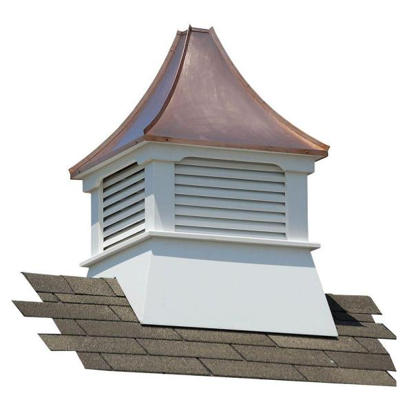 Olympia 24 in. x 24 in. x 38 in. Composite Vinyl Cupola with Copper Roof