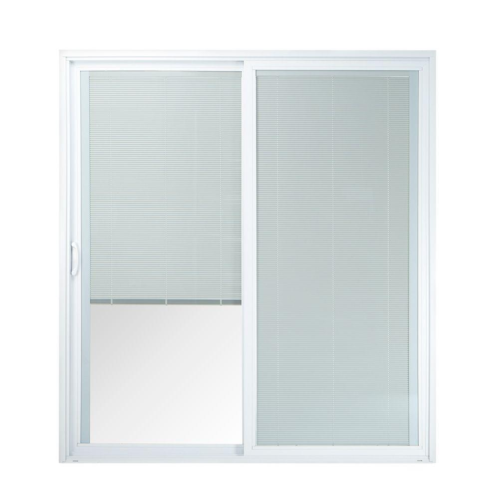 50 Series White Vinyl Left Hand Sliding Patio Door With Blinds 60557LBL    The Home Depot