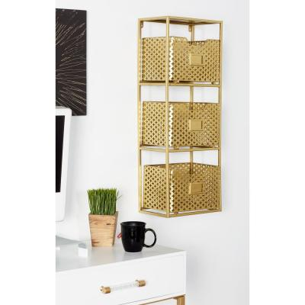 Brown Iron 3-Tier Basket Wall Rack
