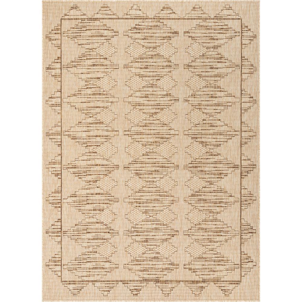 Medusa Vidar Beige Trellis Diamond Pattern 5 ft. 3 in. x 7 ft. 3 in. Indoor/Outdoor Area Rug