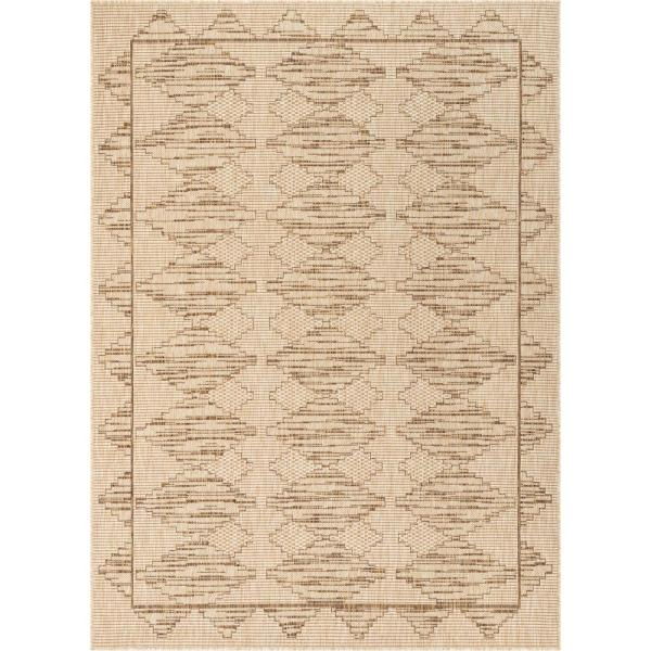 Medusa Vidar Beige Trellis Diamond Pattern 7 ft. 10 in. x 9 ft. 10 in. Indoor/Outdoor Area Rug