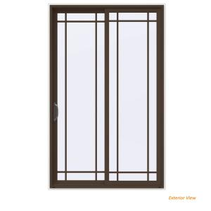 V 4500 Contemporary Brown Painted Vinyl Left Hand 9 Lite Sliding Patio Door W White Interior