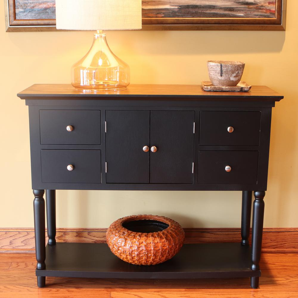 Taylor Black 4-Drawer Console Table