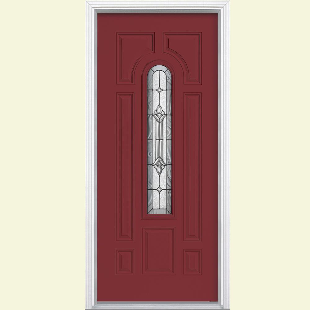 Masonite 36 in. x 80 in. Providence Center Arch Right-Hand Inswing Painted Steel Prehung Front Door with Brickmold