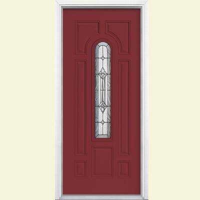 providence center arch painted steel prehung front door with brickmold - Single Exterior Doors