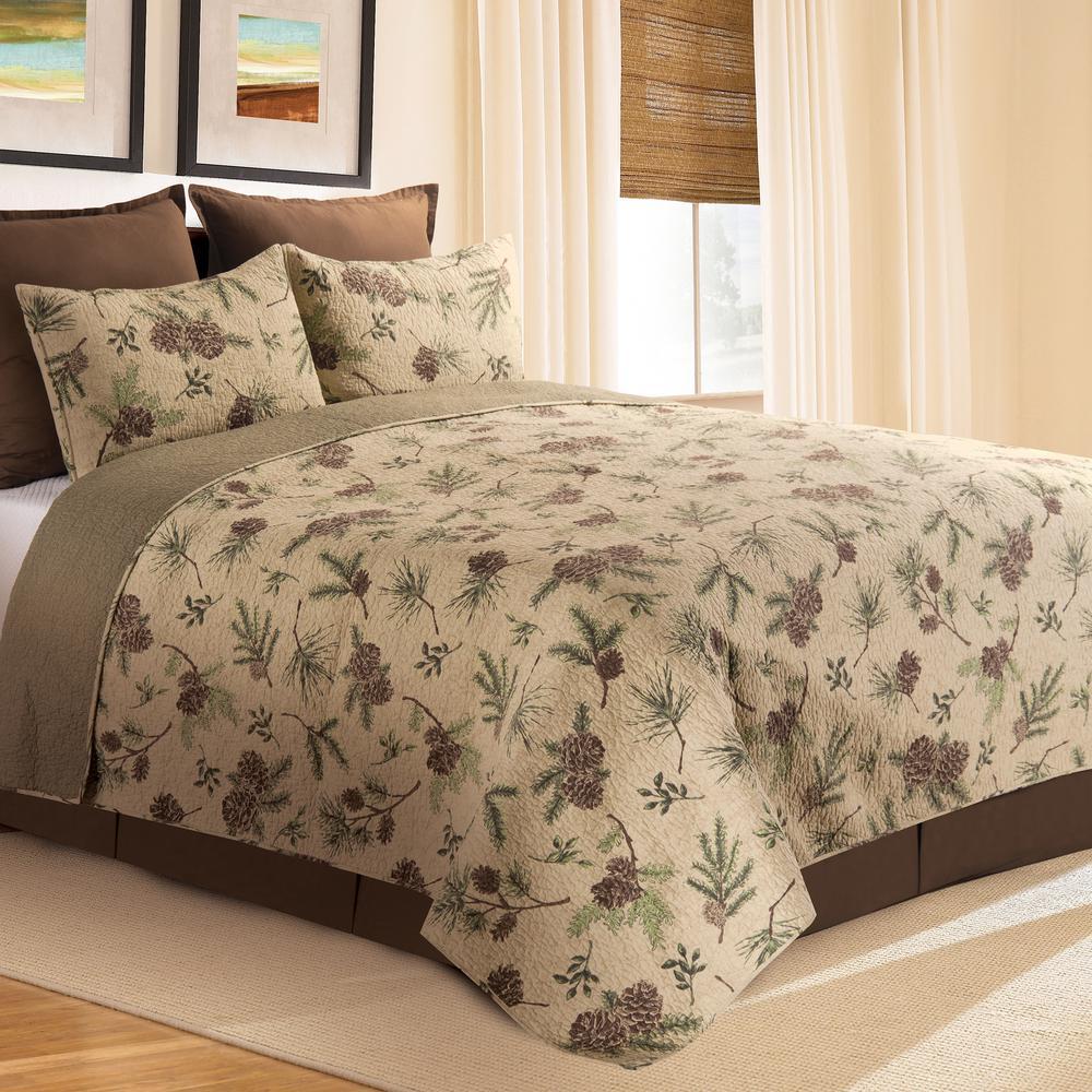 Woodland Retreat 3-Piece Tan King Quilt Set