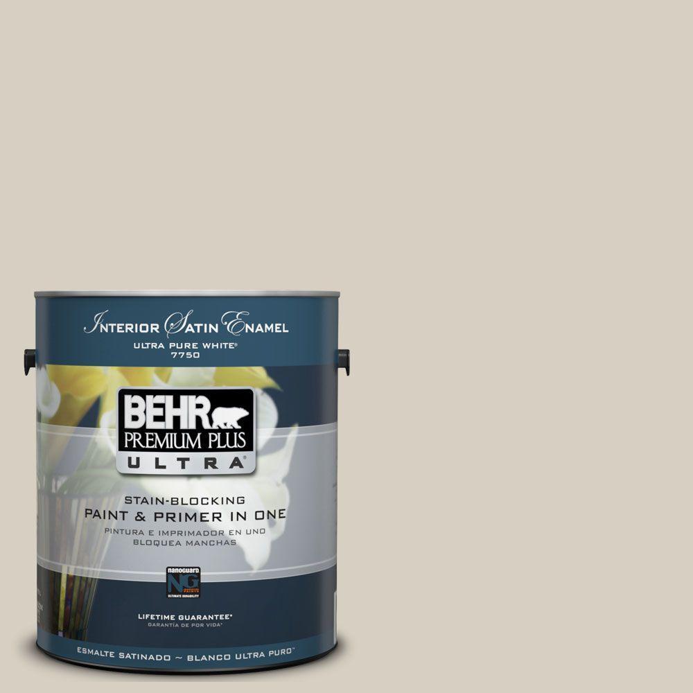 BEHR Premium Plus Ultra 1-gal. #UL170-10 Aged Beige Interior Satin Enamel Paint