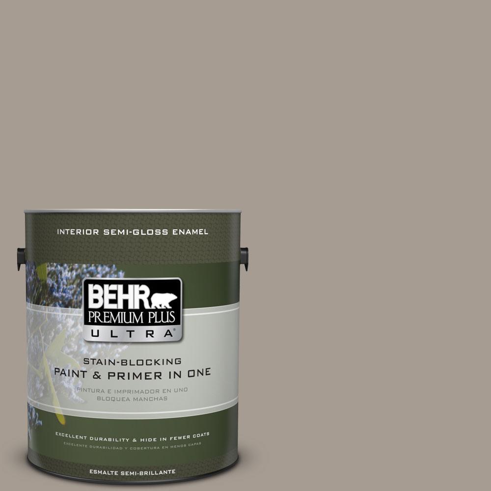 BEHR Premium Plus Ultra 1-gal. #N200-4 Rustic Taupe Semi-Gloss Enamel Interior Paint