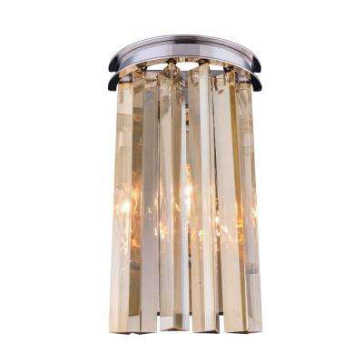 Sydney 2-Light Polished Nickel Wall Sconce with Golden Teak Smoky Crystal