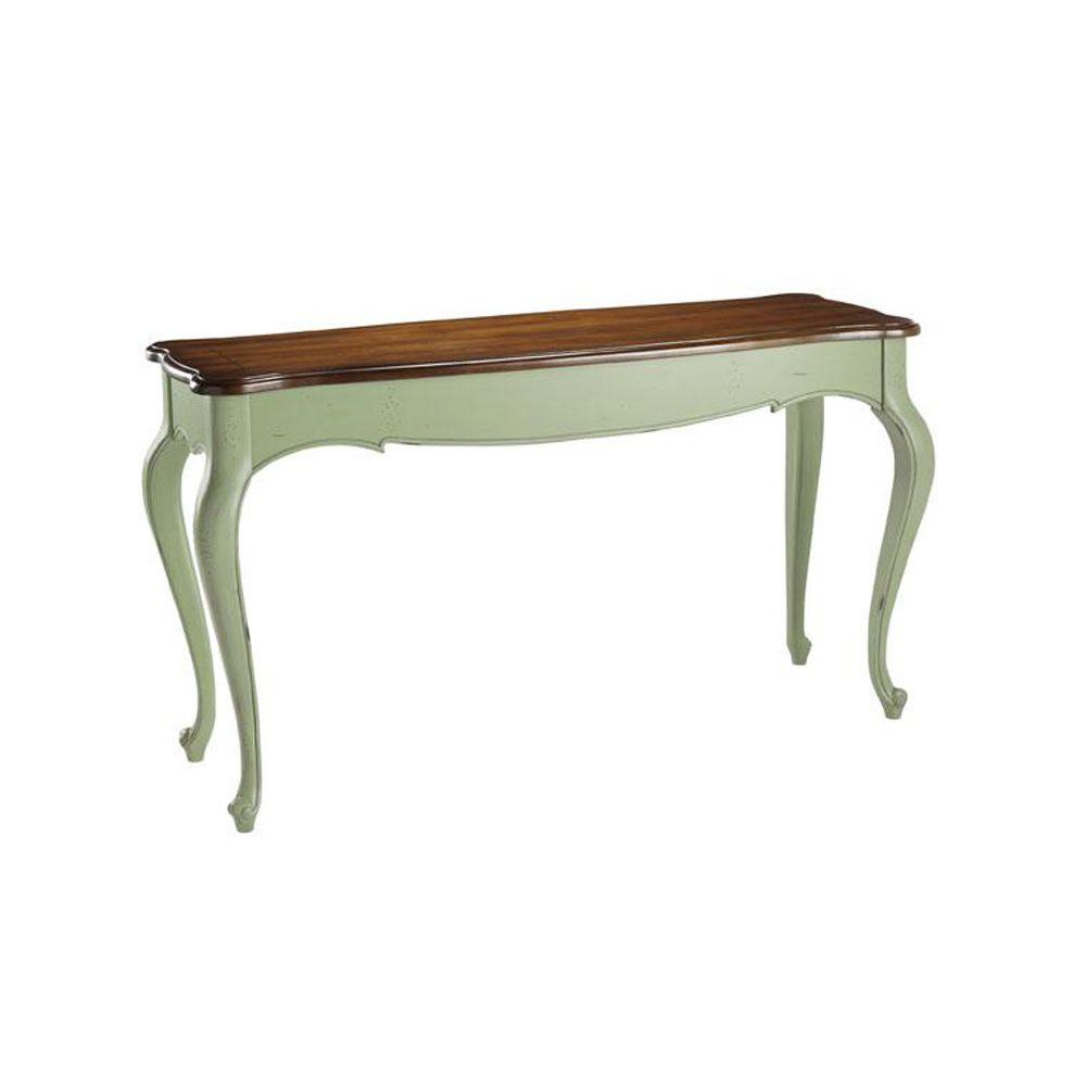 Home Decorators Collection 54 in. W Provence Green Console Table with Chestnut Top