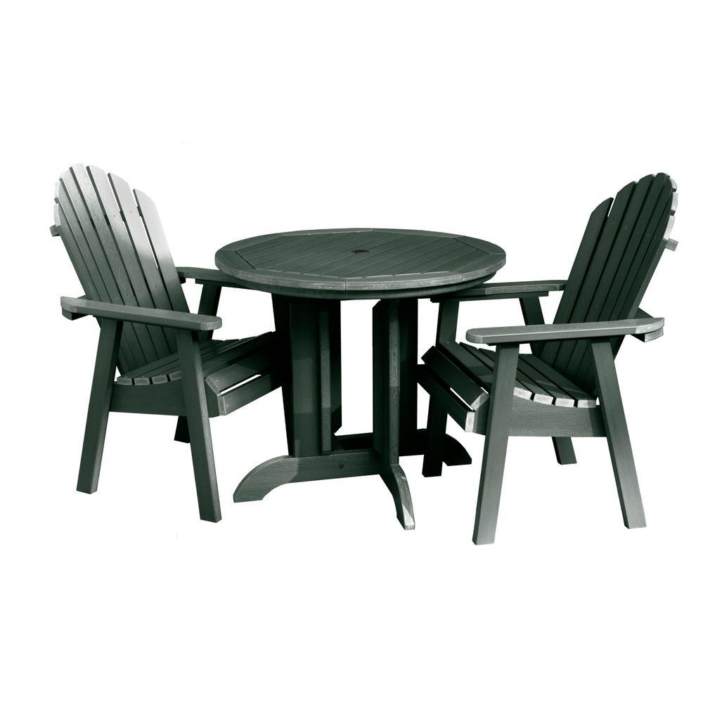 Hamilton Charleston Green 3-Piece Recycled Plastic Round Outdoor Dining Set