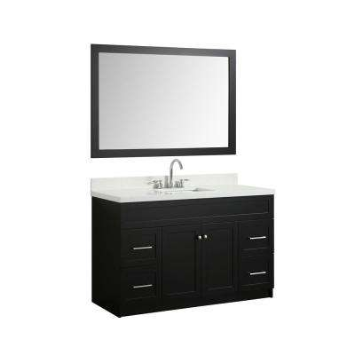 55 in. Bath Vanity in Black with Quartz Vanity Top in White with White Basin and Mirror