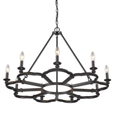 Saxon 9-Light Aged Bronze Chandelier
