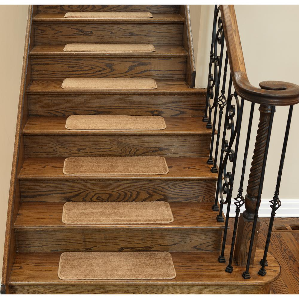 Ottomanson Softy Collection Beige 9 In. X 26 In. Rubber Back Stair Tread  Cover