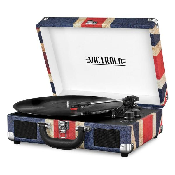 Bluetooth Suitcase Record Player with 3-Speed Turntable, UK Flag