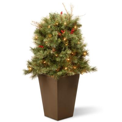 36 in. Glistening Pine Porch Bush with Clear Lights
