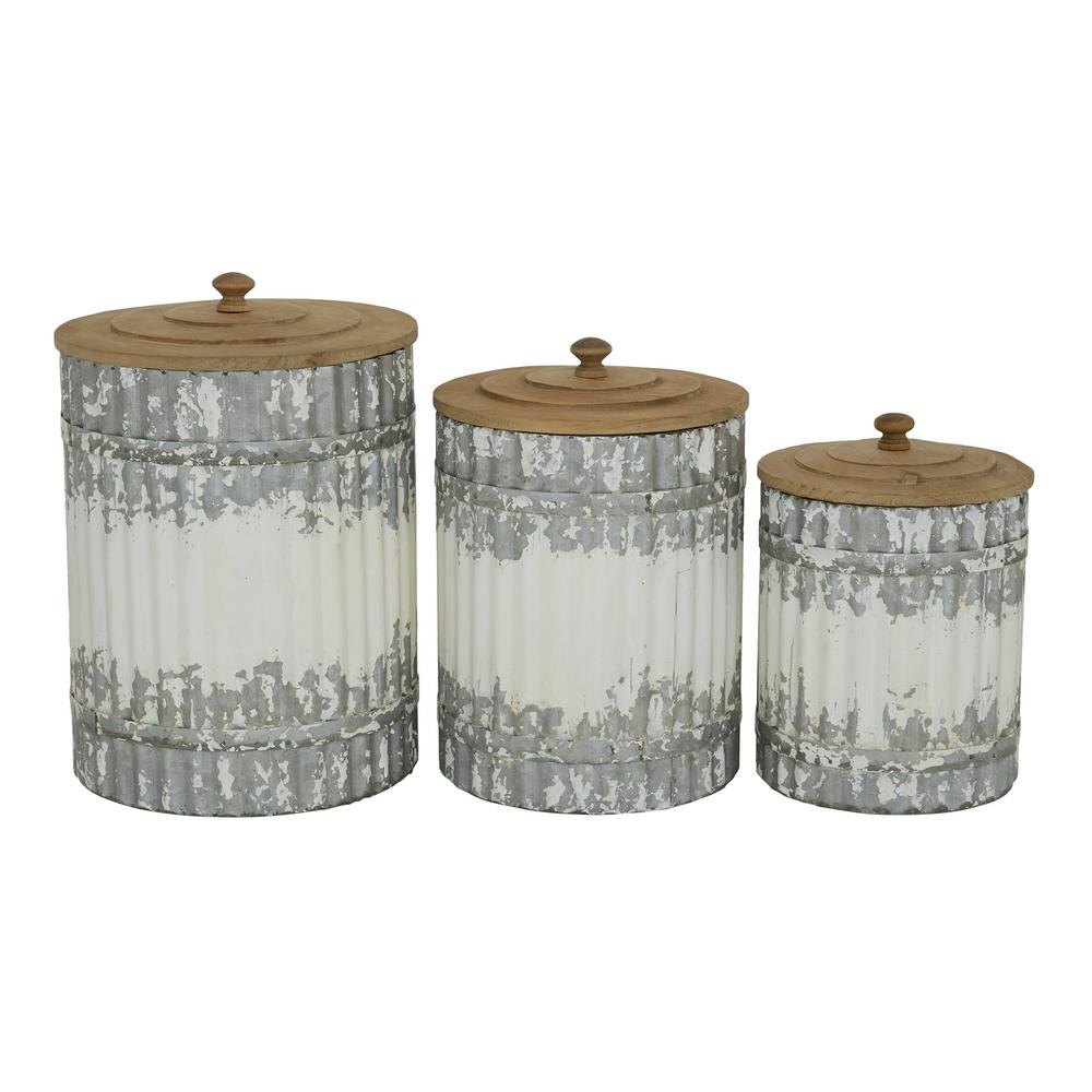 Litton Lane Round Distressed White Galvanized Metal Textured Canisters With Wood Lid Set Of 3 9 In 10 In 12 In 37873 The Home Depot