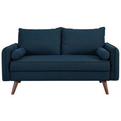 Revive 60 in. Blue Polyester 2-Seater Loveseat with Tapered Wood Legs