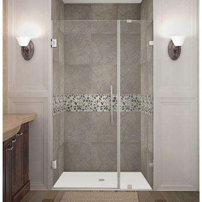 Nautis 37 in. x 72 in. Frameless Hinged Shower Door in Chrome with Clear Glass