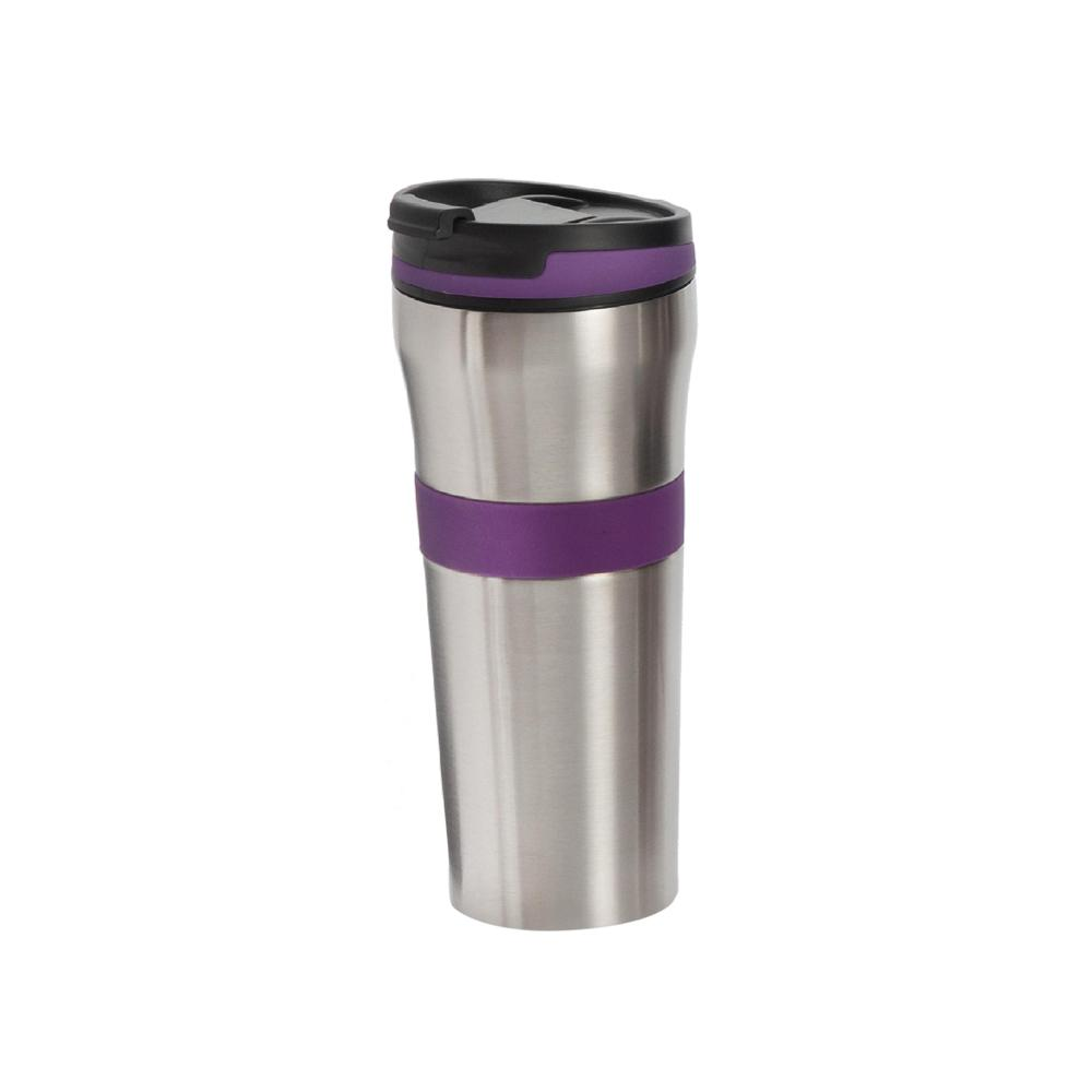 ExcelSteel 20 oz. Purple Double Wall Stainless Steel Coffee Tumbler with Silicone Grip