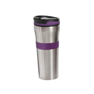 20 oz. Purple Double Wall Stainless Steel Coffee Tumbler with Silicone Grip