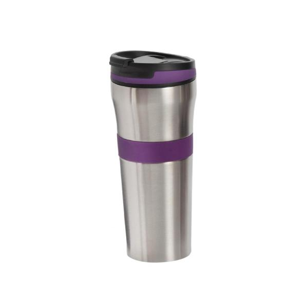ExcelSteel 20 oz. Purple Double Wall Stainless Steel Coffee Tumbler with