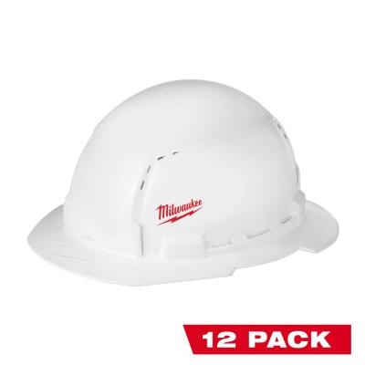 BOLT White Type 1 Class C Full Brim Vented Hard Hat with Small Logo (12-Pack)