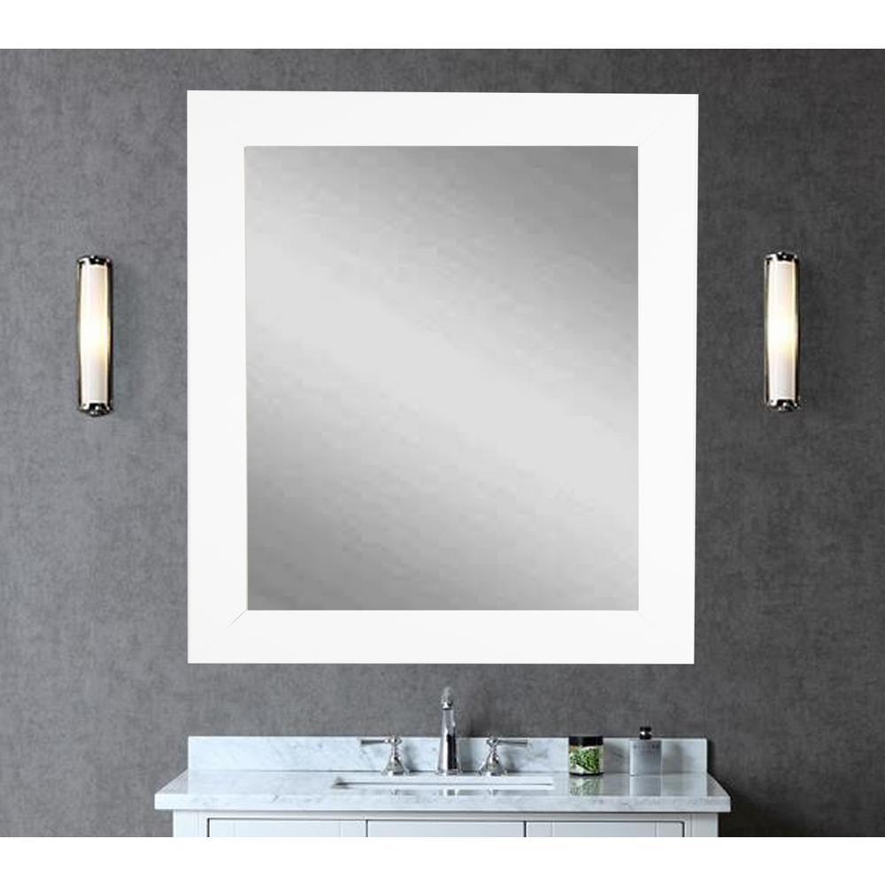 Vision 32 in. x 41 in. Framed Single Vanity Wall Mirror in White