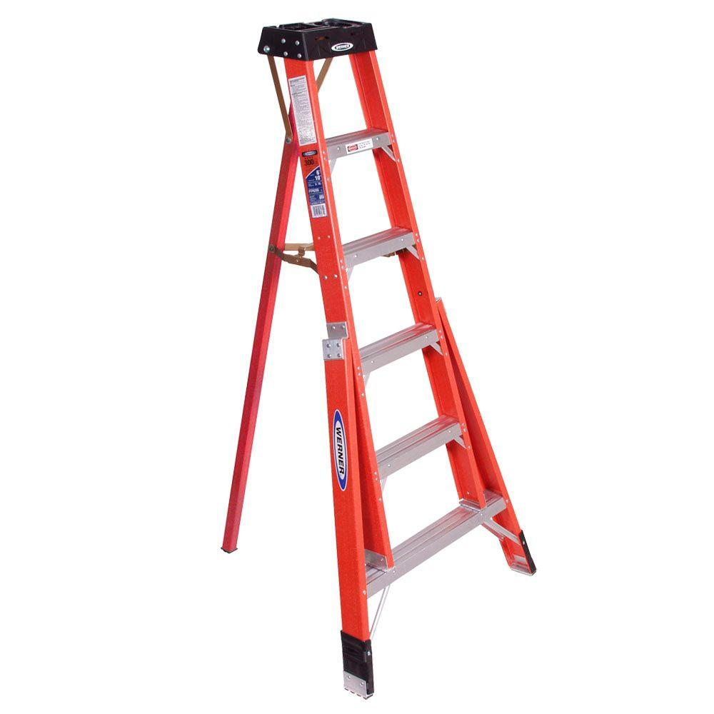 Werner 6 Ft Fiberglass Tripod Step Ladder With 300 Lb